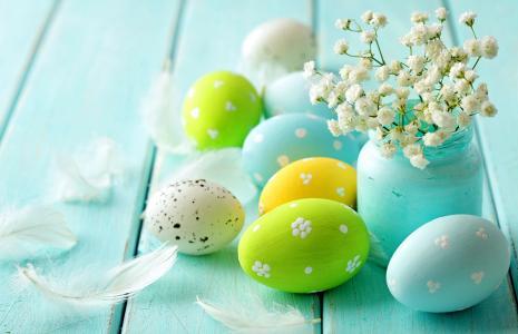 复活节,鸡蛋,羽毛,颜色,油漆