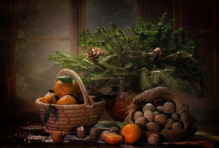 假日,新年,圣诞节,花瓶,分支机构,云杉,毛皮树,袋,坚果,篮子,水果