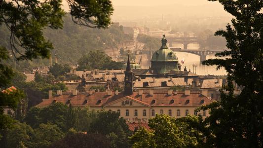 桥,捷克共和国,河,布拉格