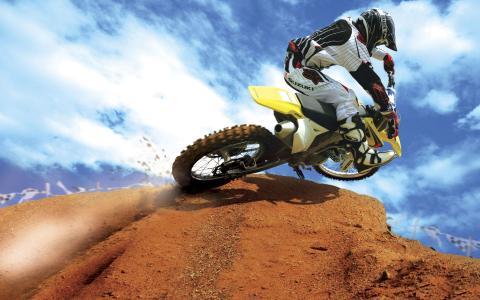 摩托车,蹦床,跳跃速度