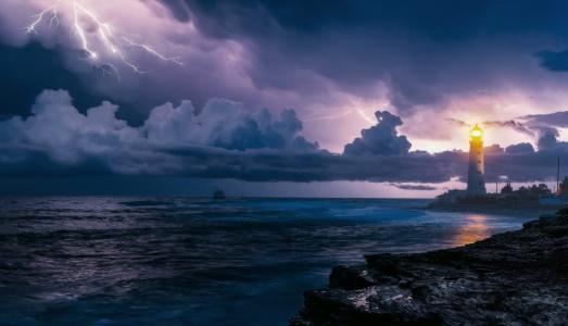天空,雷暴,闪电,旋风,灯塔,美丽