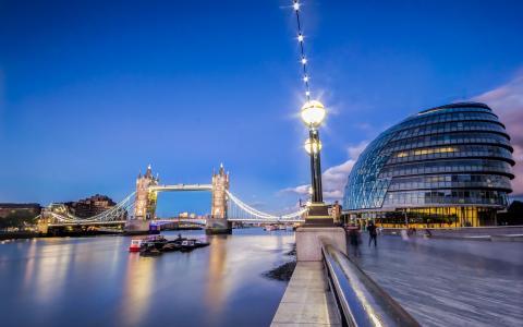 城市,夜晚,伦敦,桥,河