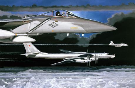 绘画,f-15,油,鹰,tu-95ms,绘图