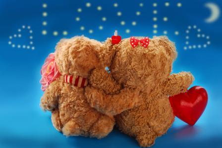 玩具,熊,情侣,爱情,心中