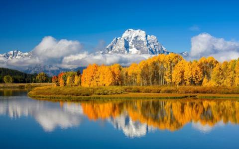 秋天,山,湖,美国,Oxbow弯曲湖