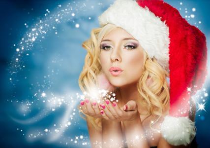 新年,冬天,雪少女,雪,令人难以置信,假期