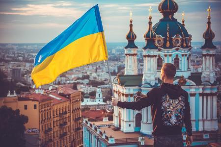 国旗,乌克兰,乌克兰,寺庙,爱国主义