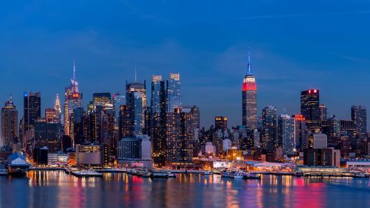 美国,摩天大楼,河,房子,纽约,夜,城市