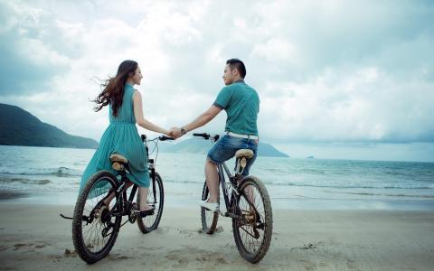 自行车,情侣,海,心情