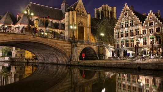 比利时,河,桥,建筑物,夜间,灯光,路灯,休息,美容