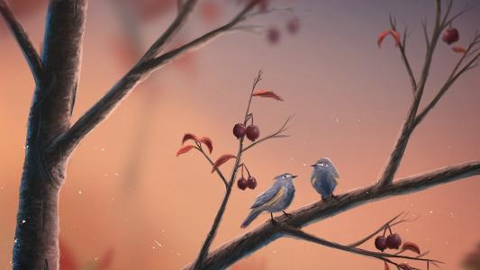 鸟,分支,樱桃,秋天,艺术