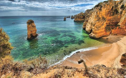 葡萄牙,夏天,海,海滨,岩石,欧洲