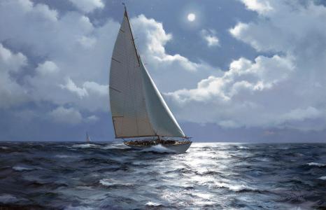 船,旗鱼,图片,绘画,海,美丽,天空,月亮