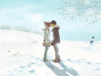幻想,艺术,冬天,夫妇,爱情