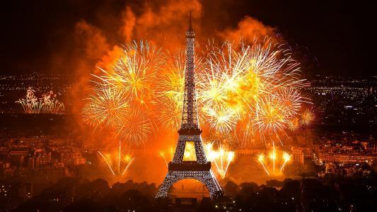 埃菲尔铁塔,巴黎,假日,敬礼,城市,灯,晚上
