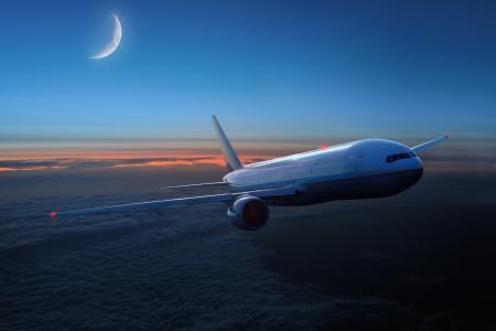 飞机,月,飞行,云
