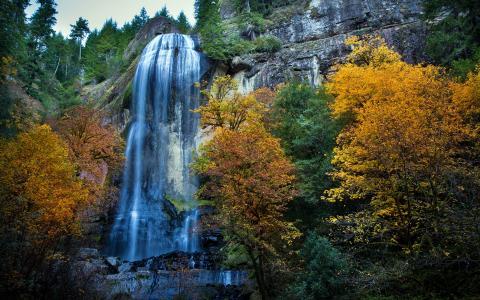 瀑布,岩石,秋天,性质