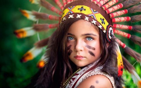 小,印度,脸,女孩
