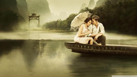 船,爱情故事,家伙,伞,女孩,爱