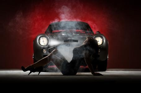 阿斯顿·马丁,女孩,构成,复古,超级跑车,黑暗的背景