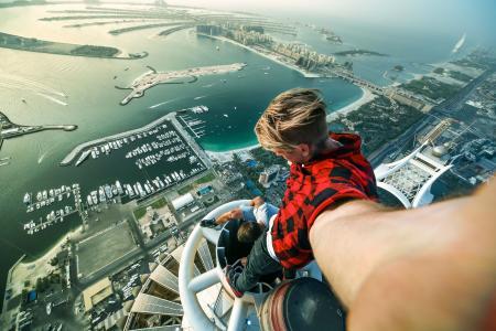 极端,照片,摩天大楼,海滩,港口,阿拉伯联合酋长国,迪拜,危险