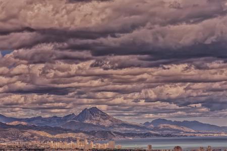 山,湾,城市,云