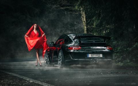 安妮Fritzsche,模型,美丽,红色,保时捷,911,GT3,黑暗