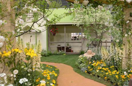 房子,路径,鲜花,美女,舒适,童话,帽子,椅子,花园