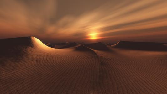 日落,沙漠,天空,自然,景观