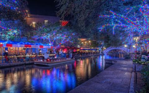 圣安东尼奥,得克萨斯州,圣安东尼奥,得克萨斯州,晚上,夜晚,圣诞灯,假期