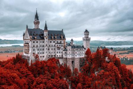 城堡,秋天,德国,Neoshchvastain,自然,美丽,天空,阴,新天鹅堡