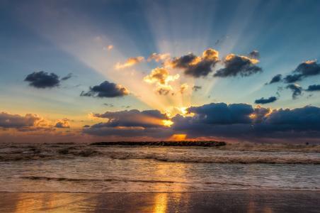 最后的光线,海,冲浪,天空,云彩,日落,塞尔吉奥·金