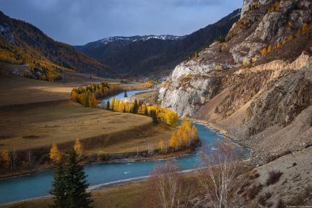 阿尔泰,ya,,秋天,高山,岩石,河流,帕维尔·西利宁科