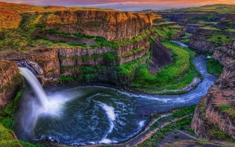 瀑布,大自然,山,河,绿化,悬崖