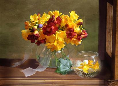 花瓶,花束,小苍兰,静物,鲜花,夏天