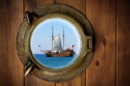 船,海,舷窗
