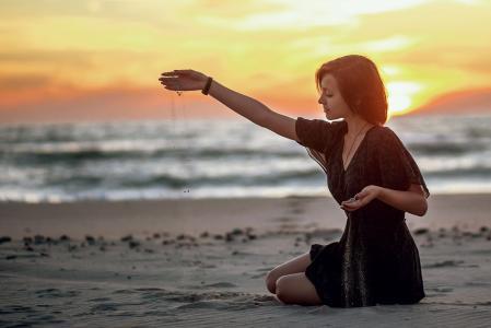 女孩,沙滩,海,ulyana财富