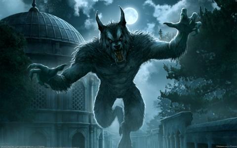 城市,夜晚,满月,狼人,幻想,克雷姆Beyit