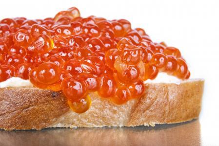 红色,鱼子酱,三明治,面包