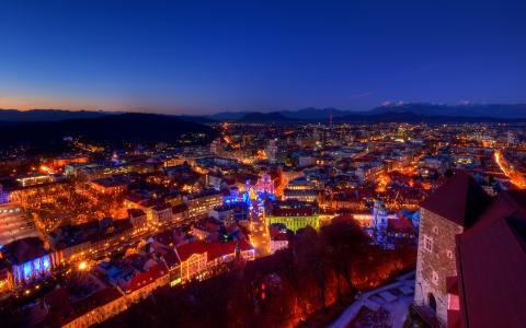家,晚上,阿尔卑斯山,城堡,黄昏,灯光,山脉