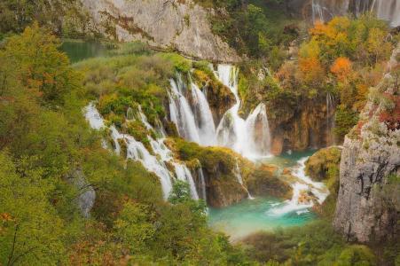 十六湖,瀑布,美景,湖泊,绿树,树木