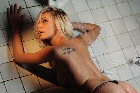 贝利玫瑰,数字欲望,女孩,金发,纹身,湿,淋浴