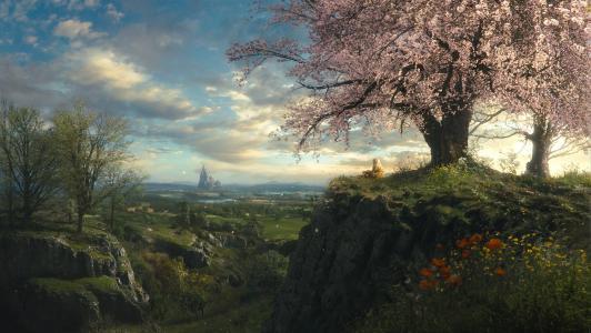 自然,春天,女孩,树