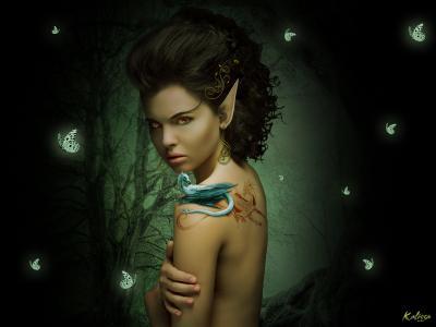 精灵,龙,黑暗的森林,纹身,回,看,模式,耳环,卷发,黑暗