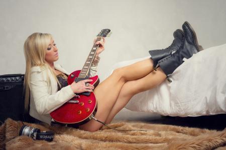 女孩,吉他,音乐,腿,房间