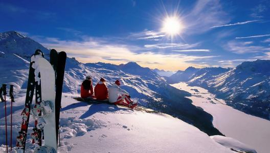 人,自然,冬天,山,河,天空,太阳,美丽,滑雪板,休息,积极