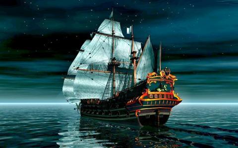 帆船,海,夜,photoshop,天空,反射,星星