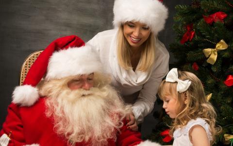新的一年,圣诞节,假期,圣诞老人,女孩,女孩,帽子,毛皮树,微笑