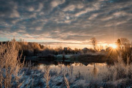 十一月,橡树河,冰,霜,冷,黎明,早晨,光,村庄,安德烈Sizh