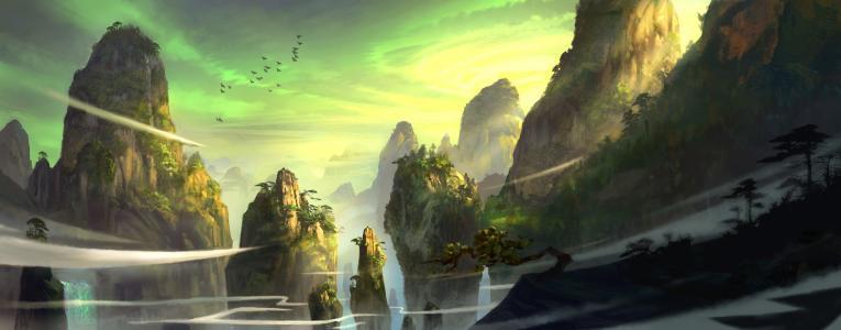 山,树,追求,鸟,风,艺术,针叶树,岩石